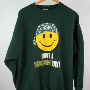 VTG Smiley Face Green Bay Packers Sweatshirt XL